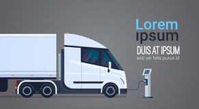 Charging Semi Truck With Trailer At Electic Charger Station Banner With Place For Text. Vector Illustration royalty free illustration