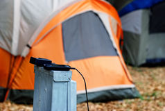 Charging station at camp ground Royalty Free Stock Photos