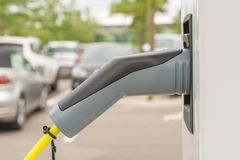 Charging station with a charging coupling type 2 as plug for electric cars stock images