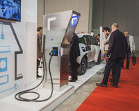 Charging station on display at Solarexpo 2014 in Milan, Italy Royalty Free Stock Images