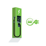 Charging Station for Electric Car. Green charging station for electric car. Isolated flat vector charging power station illustration on white background with royalty free illustration