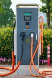 Charging station for electric car sharing system. Outdoor stock images