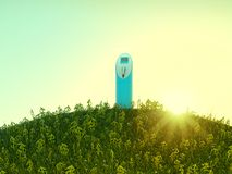 Charging station on meadow with USD shaped grass. During sunrise Royalty Free Stock Images