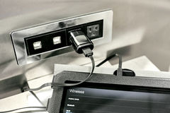 Charging Station with Tablet plugged In Stock Images