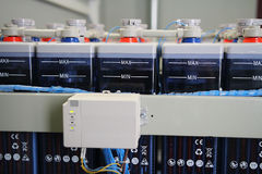 Charging system of industrial DC battery electric power supply accumulators. Control charge of system accumulators stock images