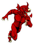 Charging Welsh Dragon. An illustration of a charging Welsh Dragon sports mascot Royalty Free Stock Photos
