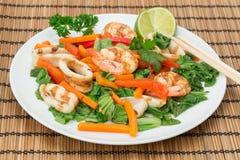 Chargrilled Calamari and KIng Prawns - Vietnamese cuisine Royalty Free Stock Image