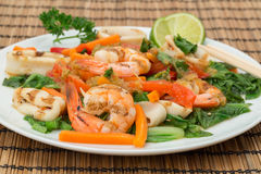 Chargrilled Calamari and KIng Prawns - Vietnamese cuisine royalty free stock image