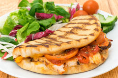 Chargrilled chicken flatbread pannini with salad Stock Photography