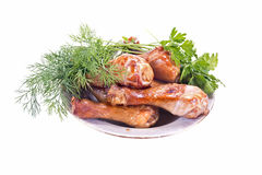 Chargrilled chicken leg Royalty Free Stock Images