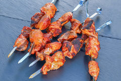 Chargrilled meat fillet on metal skewers Royalty Free Stock Photography