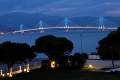 The Charilaos Trikoupis Bridge Royalty Free Stock Photo
