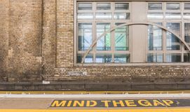 Charing Cross mind the gap stock photography