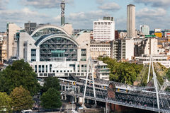 Charing Cross Railway Station from London Eye Royalty Free Stock Photo