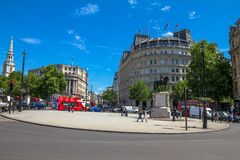 Charing Cross  square with  equestrian statue of Charles I  near Trafalgar square . London. UK Royalty Free Stock Photo