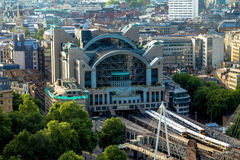 Charing Cross Station at  bridge over the Thames. London, UK Royalty Free Stock Photography
