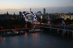 CHARING CROSS STATION IN THE EVENING. View to Charing Cross train station, Hungerford bridge and river Thames from London Eye Royalty Free Stock Photos