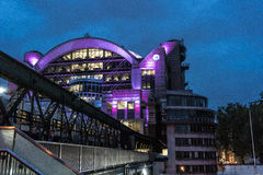 Charing Cross Station. Purple lit Charing Cross Station at night Royalty Free Stock Photos