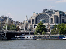 Charing Cross Station and the Thames, London royalty free stock photo