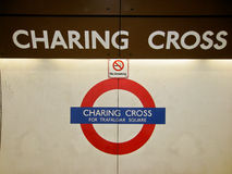 Charing Cross Underground Station Sign London Stock Photos