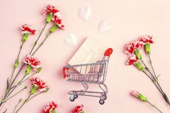 Chariot à achats avec le boîte-cadeau, les coeurs d'amour et le flowe d'oeillets Images libres de droits