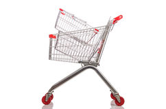Chariot à supermarché d'achats d'isolement photo stock