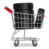 Chariot à vecteur avec des pneus Illustration Stock