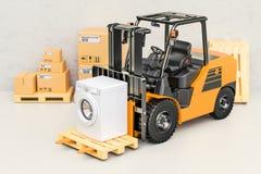 Chariot élévateur avec la machine à laver La livraison d'appareils, 3D ren Images stock