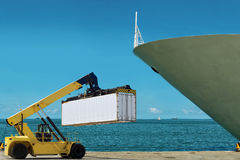 Chariot élévateur avec le conteneur de cargaison dans le port. Photos libres de droits