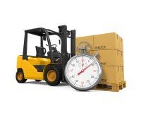 Chariot élévateur avec les boîtes et le chronomètre Photo libre de droits
