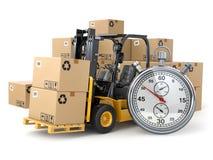 Chariot élévateur avec les boîtes et le chronomètre Conce de la livraison express Photos stock