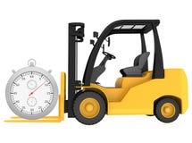 Chariot élévateur avec un chronomètre d'isolement sur le blanc Images stock