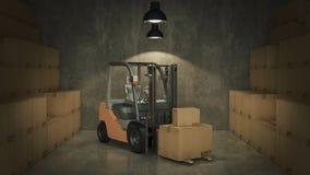 Chariot élévateur dans des boîtes en carton de chargement d'entrepôt ou de stockage 3d Photos libres de droits