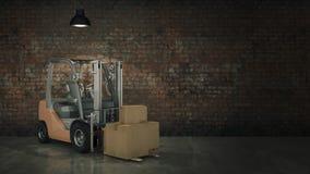 Chariot élévateur dans des boîtes en carton de chargement d'entrepôt ou de stockage 3d Photos stock