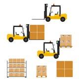 Chariot élévateur dans le style plat Carton et boîte en bois Image stock