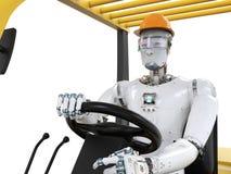 Chariot élévateur de contrôle de robot illustration de vecteur