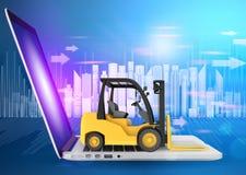 Chariot élévateur et ordinateur portable sur le fond des gratte-ciel Images stock