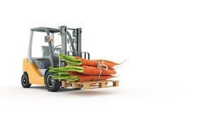 Chariot élévateur moderne avec des carottes Images stock