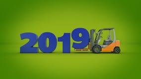Chariot élévateur moderne, signe de la nouvelle année 2019 rendu 3d illustration de vecteur