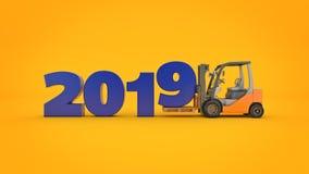 Chariot élévateur moderne, signe de la nouvelle année 2019 rendu 3d illustration stock