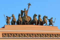 Chariot on the arch of the General Staff on palace square in St. Royalty Free Stock Photo