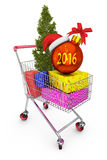 Chariot avec des cadeaux Image stock