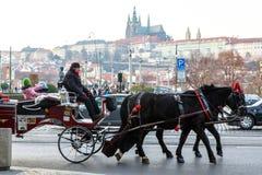Chariot avec des chevaux Prague (République Tchèque) Image libre de droits
