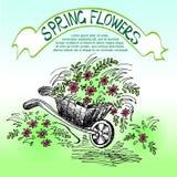 Chariot avec des fleurs Images libres de droits