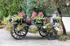 Chariot avec des fleurs dans la cour Image libre de droits