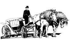 Chariot avec l'illustration de chevaux images stock