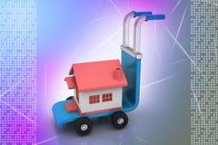 Chariot avec la maison Images libres de droits