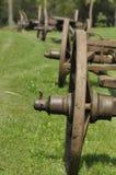 Chariot avec les roues en bois Musée, monument rénové Photo stock