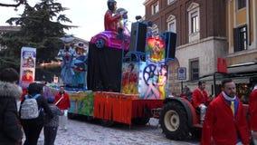 Chariot at carnival parade of Verona city stock footage