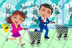 Chariot courant de boutique de fenêtre de vente d'achats de couples Images stock